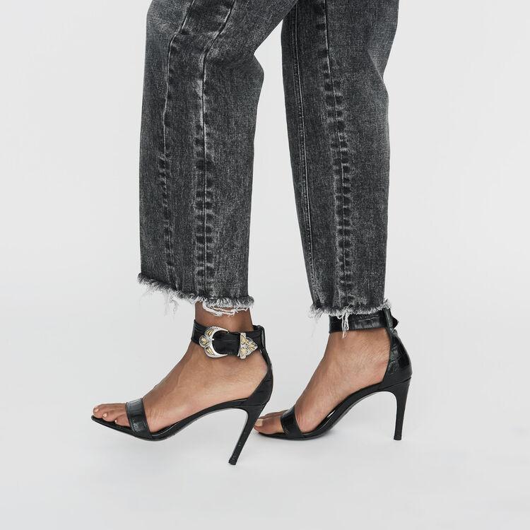 Crocodile heeled sandals : Nueva colección color Negro