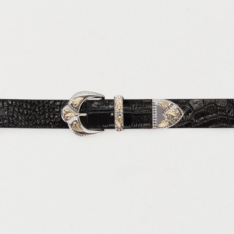 Cinturón piel doble hebilla festoneada : esta semana color Negro