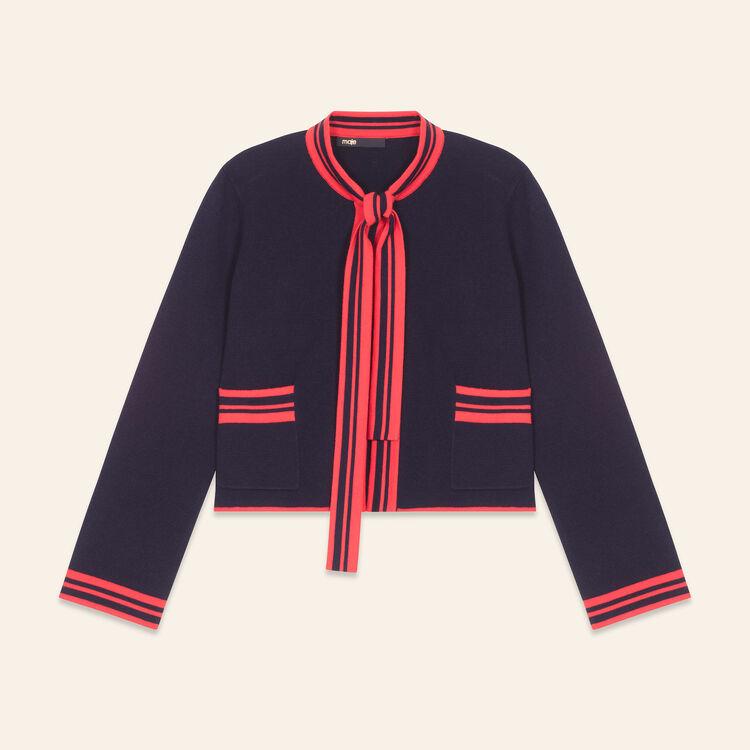 Cárdigan corto bicolor : Jerseys y cárdigans color Azul Marino