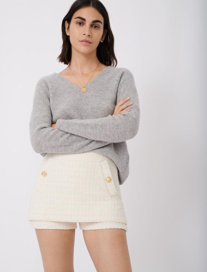 Jersey de cachemira con cuello de pico - Nueva colección - MAJE