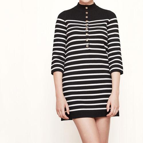 Vestido de punto de estilo marinero : Vestidos color Negro