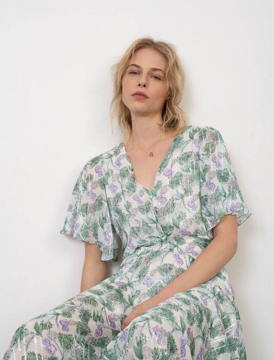 Vestido-pañuelo de muselina estampada : Vestidos color Végétal Écru/Vert