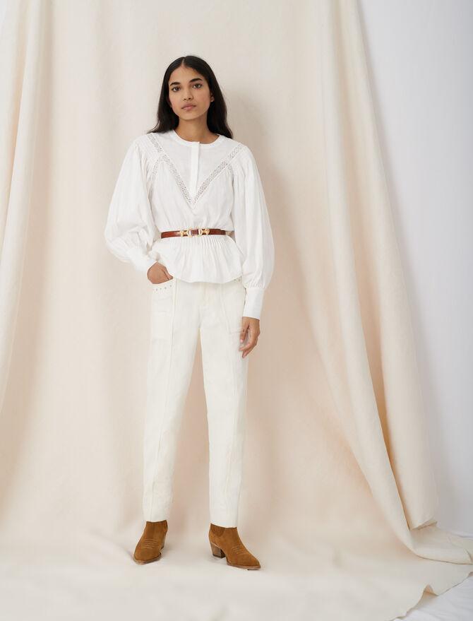 Blusa con tiras de guipur - Tops y Camisas - MAJE