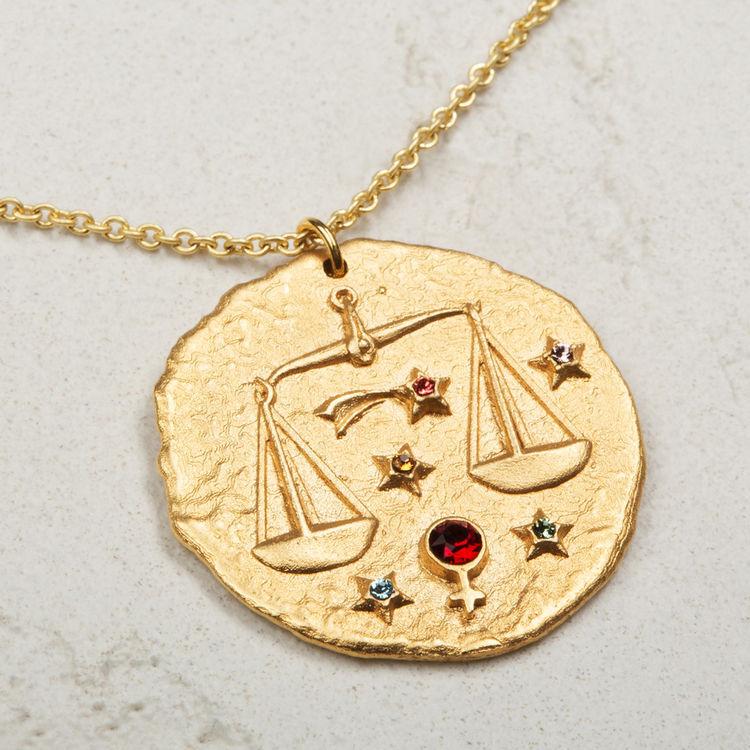 Collar de signo del Zodíaco Libra : Bisuteria color OR