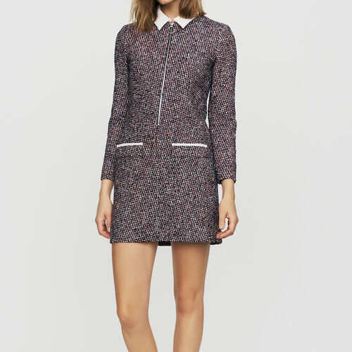 Vestido-camisero de tweed : Vestidos color Jacquard