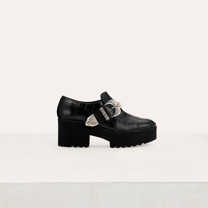 Leather derby shoes with buckle : Zapatos planos color Negro