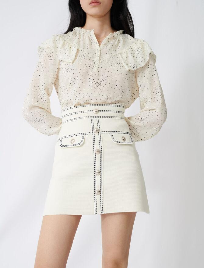Falda con pespuntes resaltados - Faldas y shorts - MAJE
