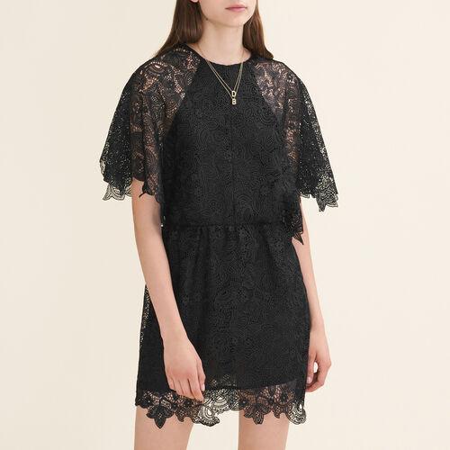 Vestido corto de guipur : Vestidos color Negro