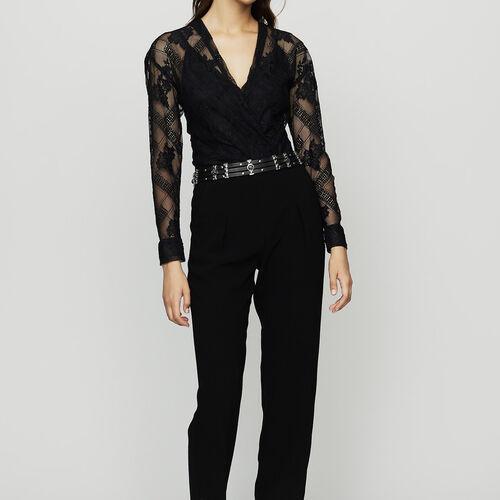 Mono-pantalón de crepé y encaje : Pantalones color Negro