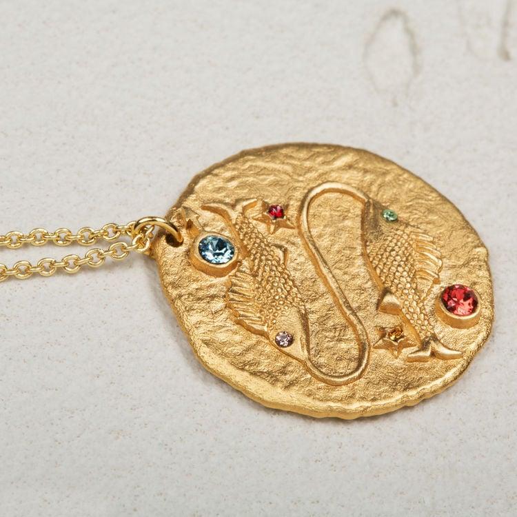 Collar de signo del Zodíaco Piscis : Bisuteria color OR