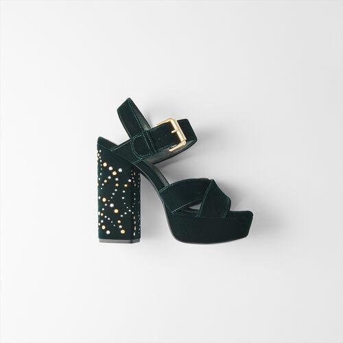Sandalias alza de terciopelo y tachuelas : Zapatos de tacón color VERT