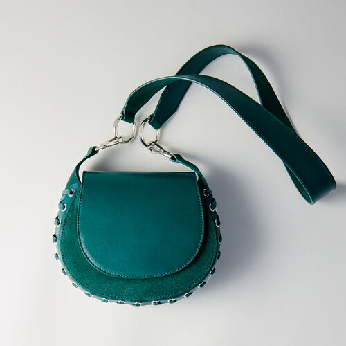 Laceup leather and suede Gyps handbag : Campaña FW19 color VERT