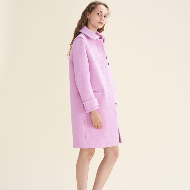 Abrigo recto de lana virgen : Abrigos color Rosa