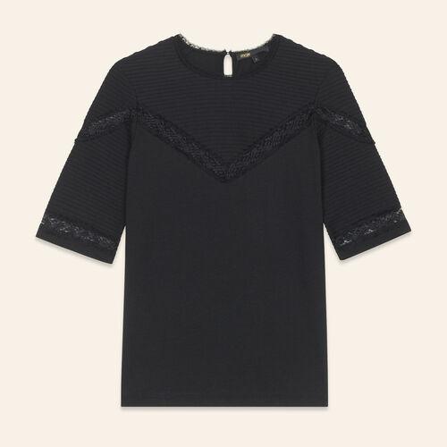 Camiseta con galones de encaje : T-shirts color Negro