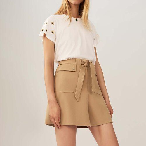 Falda con cinturón a anudar : Faldas y shorts color Camel