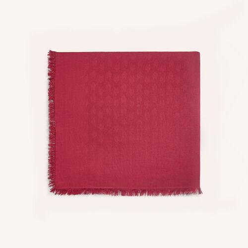Chal de mezcla de algodón : Pañuelos & Ponchos color Frambuesa