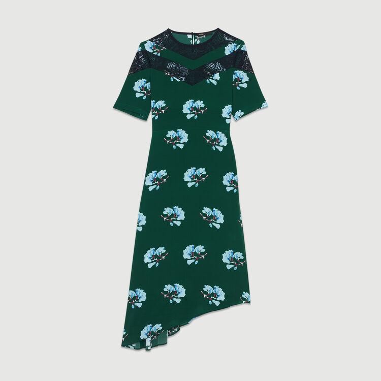 Vestido asimétrico estampado con encaje : Vestidos color IMPRIME