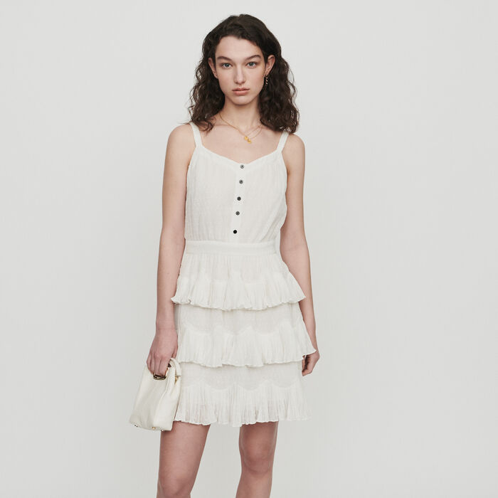 Vestido avolantado con tirantes : Vestidos color Blanco