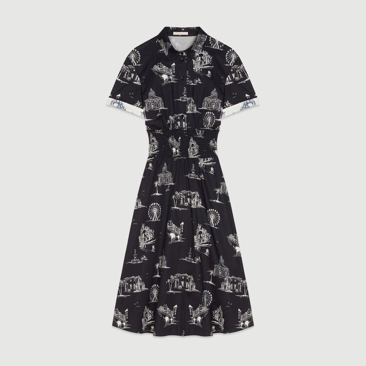 Vestido largura midi estampado Paris : Vestidos color Negro
