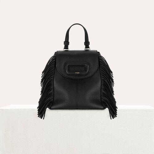 Mochila M Mini de cuero con cadena : M Back color Negro