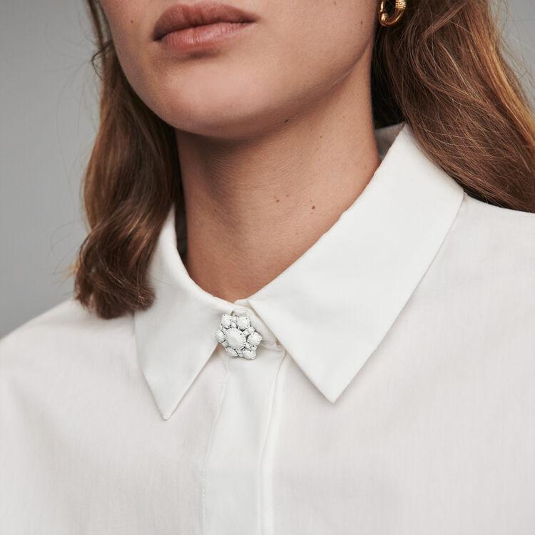 Blusa en popelina con botones joya : Tops y Camisas color Blanco