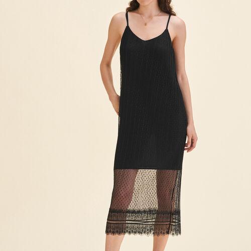 Vestido largo medio plumetis sin mangas : Vestidos color Negro