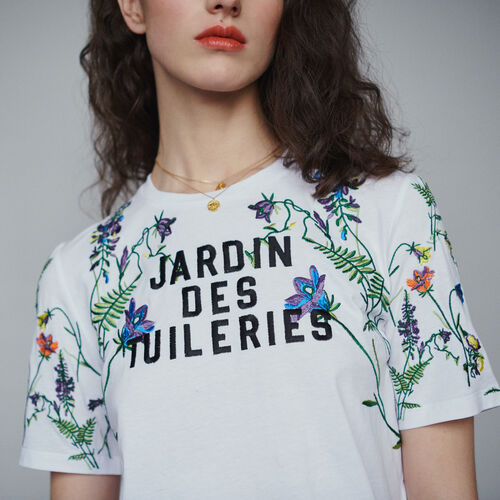 Camiseta con bordados : T-Shirts color Blanco