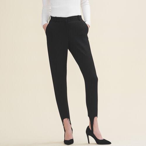 """Pantalón """"fuseau"""" de crepé : Pantalones y vaqueros color Negro"""