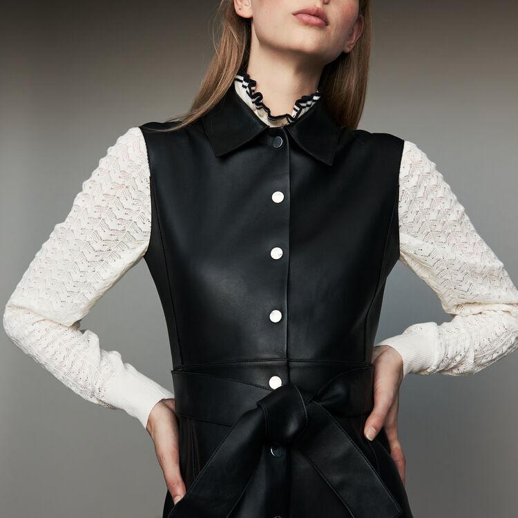 Vestido camisero sin mangas de cuero : Vestidos color Negro