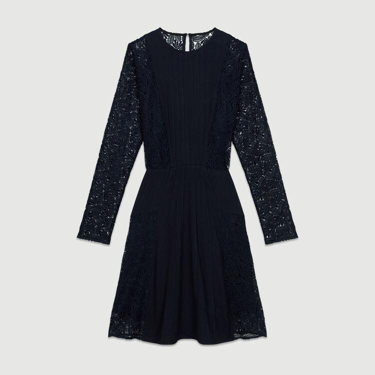 Vestido de encaje y crepé : Vestidos color Azul Marino