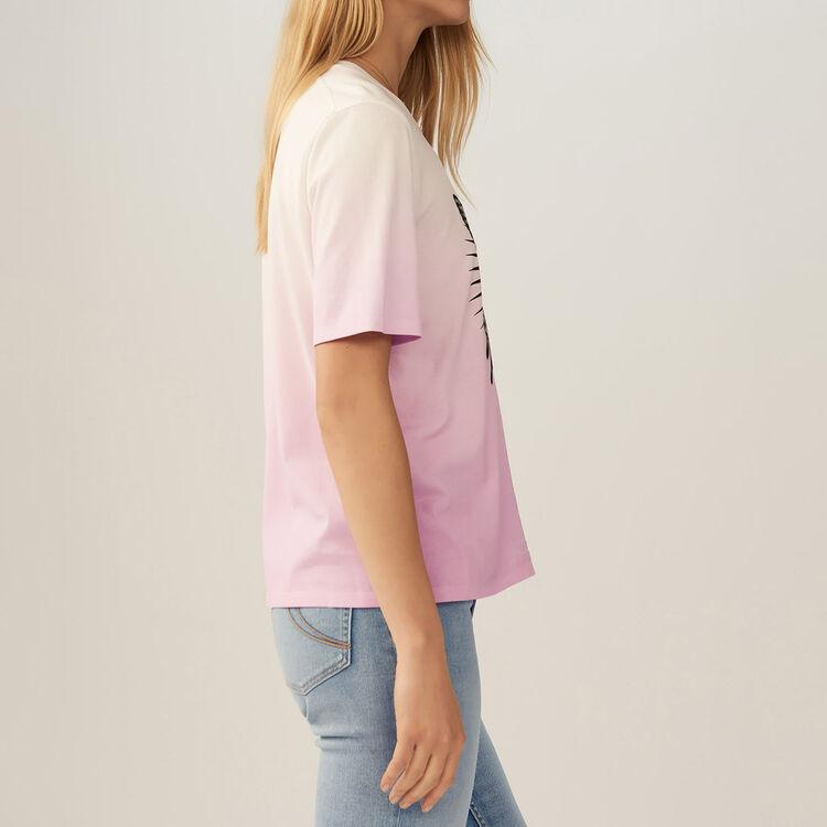 Camiseta con mariposa bordada : T-Shirts color LILA