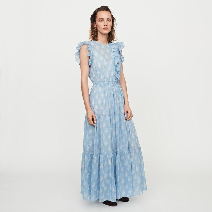 Vestido largo estampado con volantes : Vestidos color Azul