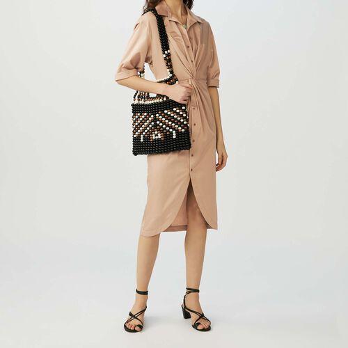 Vestido camisero con drapé : Vestidos color BEIGE SABLE