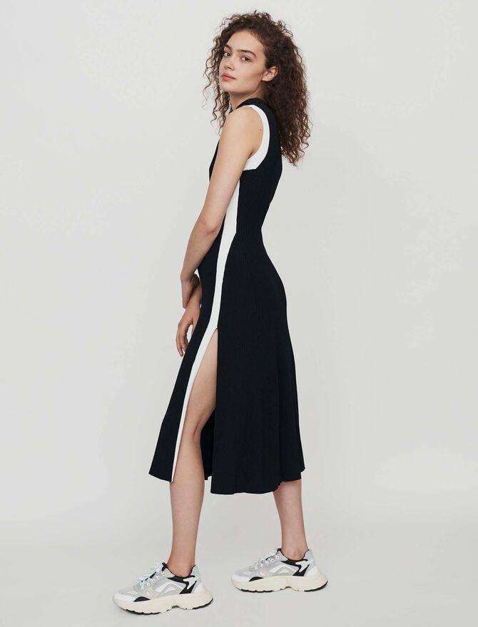 Vestido ribeteado abierto y a contraste - Vestidos - MAJE