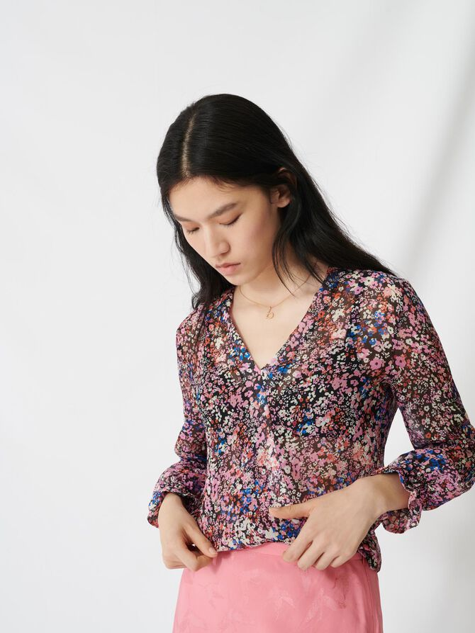 Blusa de seda con estampado floral - Tops y Camisas - MAJE