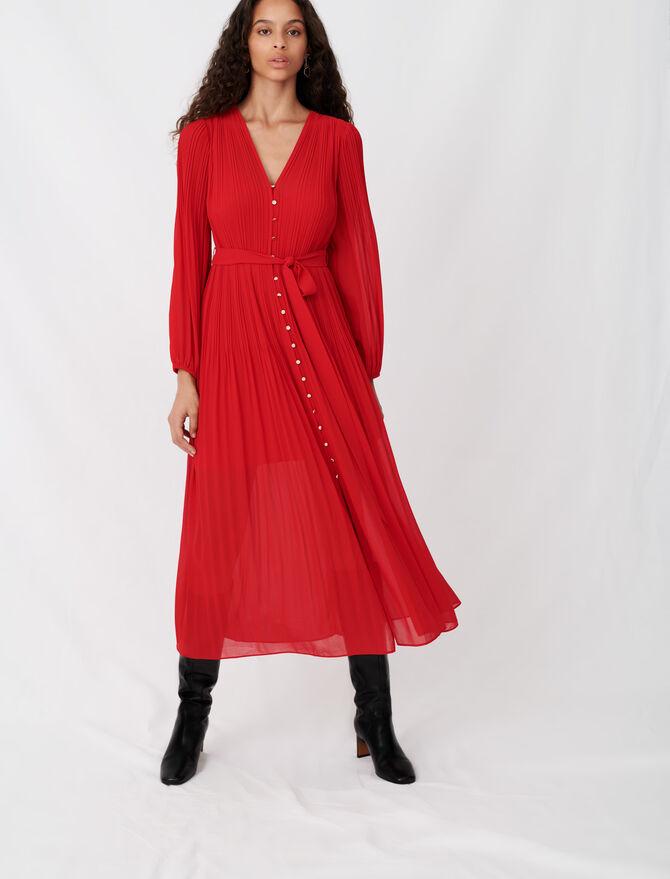 Vestido de muselina plisado con cinturón - Vestidos - MAJE