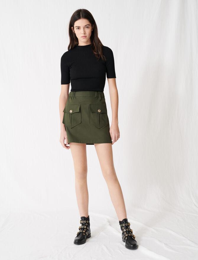 Falda caqui algodón con bolsillos - Toda la colección - MAJE