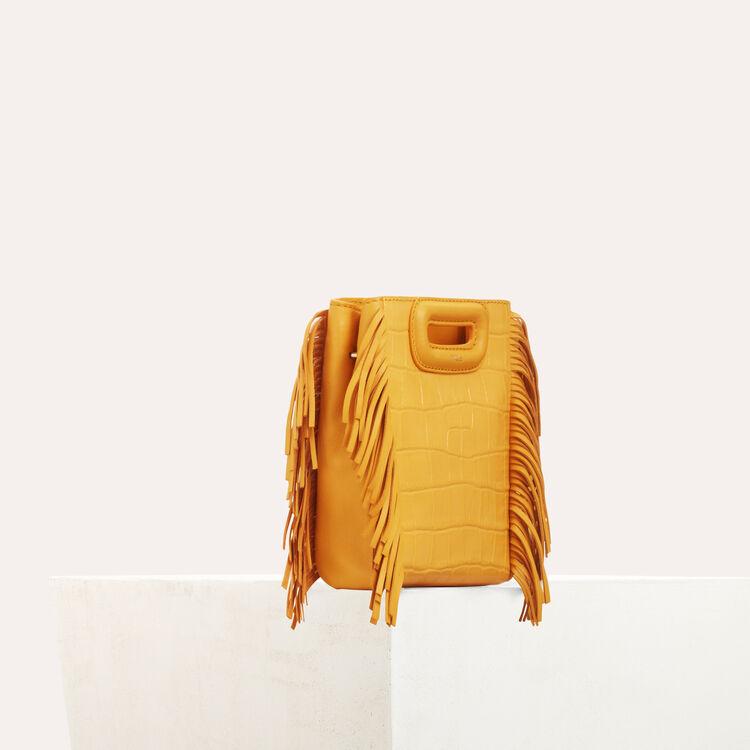 Mini-bolso M en croco con cadena : M Mini color Amarillo