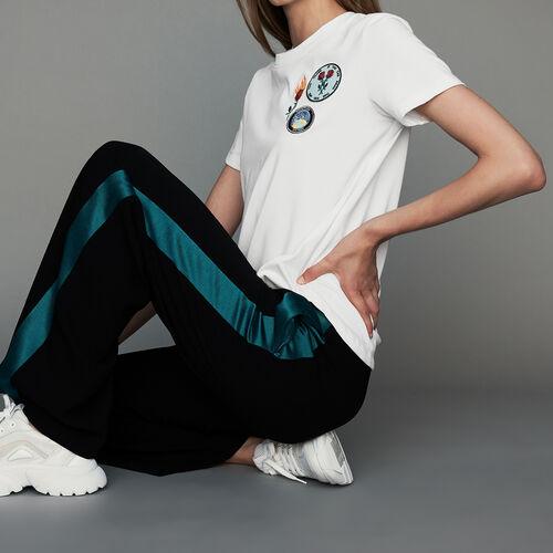 Pantalón ancho bicolor : Prêt-à-porter color Negro