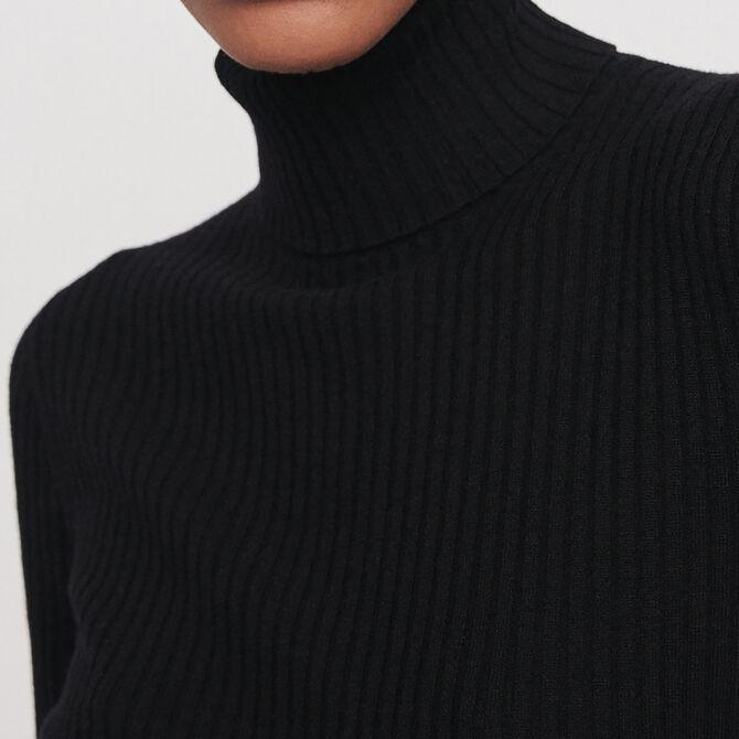 Jersey fino canalé cuello alto - Malla - MAJE