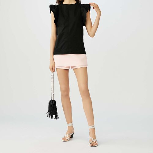 Top con volantes en las sisas : Tops color Negro