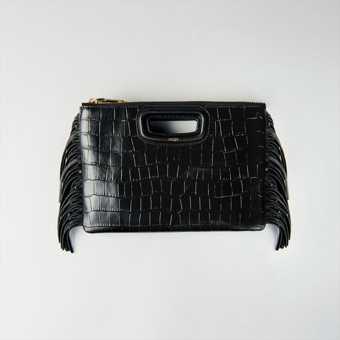 Cartera M Duo cuero en relieve cocodrilo : M Duo color Negro