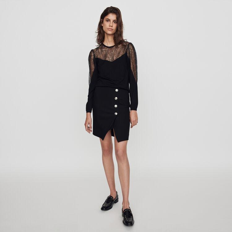 Jersey fino de punto y encaje : Jerseys y cárdigans color Negro