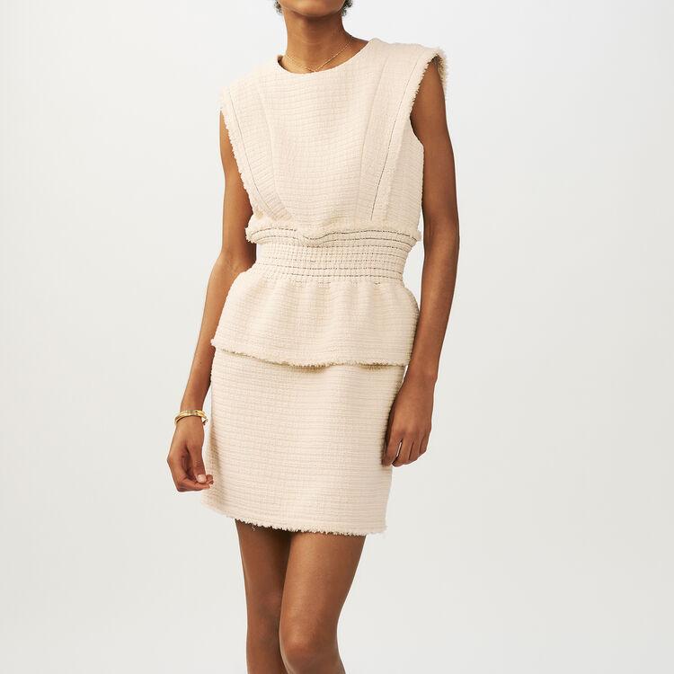Vestido sin mangas en Tweed : Vestidos color Crudo