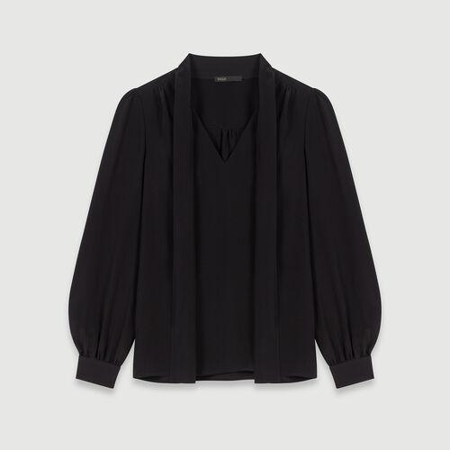 Top de seda con corbata : Colección invierno color Negro