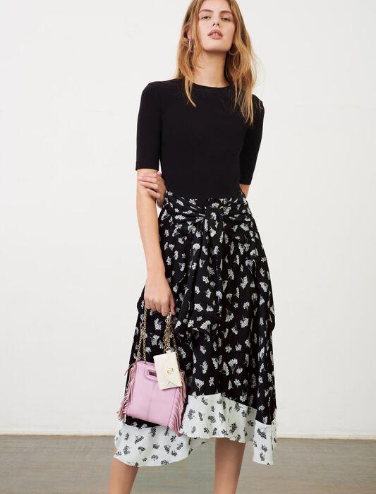 Vestido trampantojo de raso estampado : Vestidos color Groseilles Noir