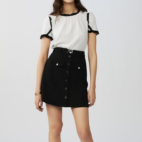 Falda trapecio con cinturón : Faldas y shorts color Negro