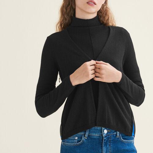 Cárdigan con cremallera a los lados : Jerseys y cárdigans color Negro