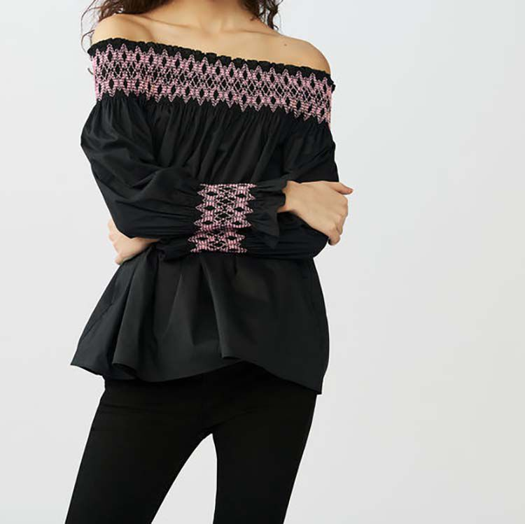 Top con nido de abeja y hombros : Tops color Negro