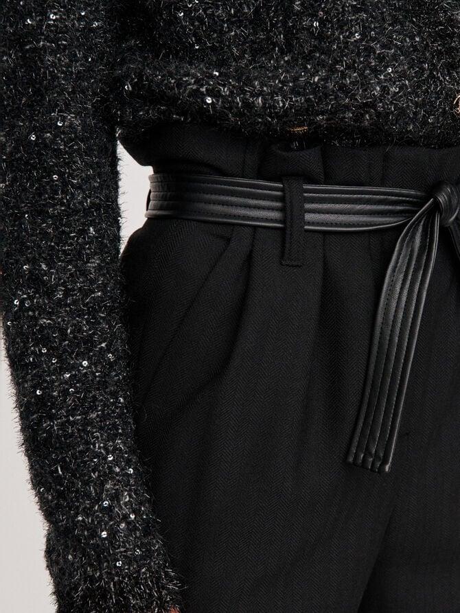 Pantalones con cinturón de espigas - Pantalones y Jeans - MAJE